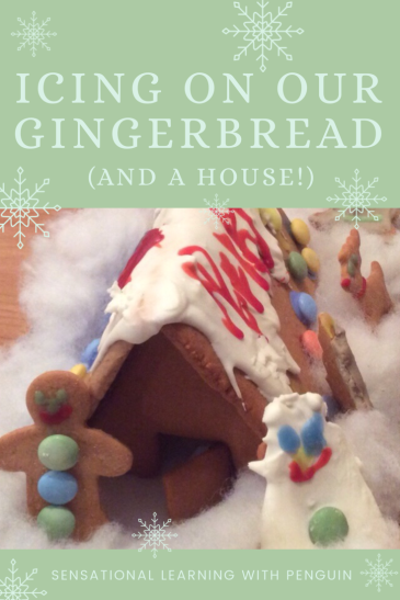Icing on our gingerbread cookies, and a house! A fun advent activity, which also involves fine motor skills, pincer grasp, hand strength, sensory messy 'play' and basic numeracy.