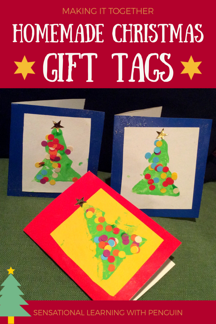 Homemade Christmas Gift Tags with Potato Print Trees. Great for Motor Skills practice, Hand Strength, Scissor Skills, Pincer Grasp etc. #KidsCrafts #ChristmasCraft sensationallearningwithpenguin.com