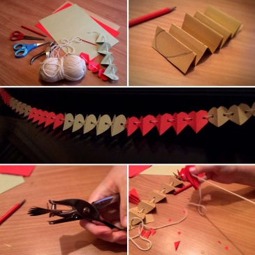Making a Paper Heart #Garland is a simple and fun #Advent activity, and it also involves working on fine motor skills, scissor skills etc. For more ideas like this, please visit us at sensationallearningwithpenguin.com #kidscrafts #motorskills #DIYdecorations #homemade