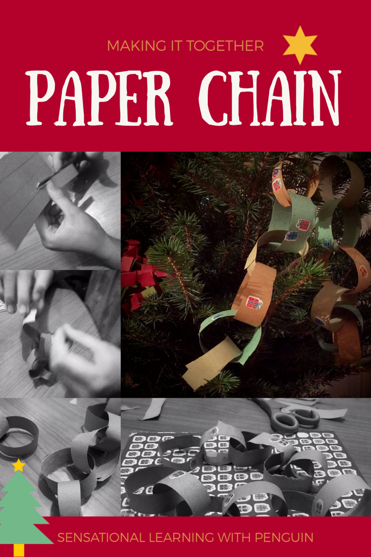 Making a Paper Chain - Simple Homemade Decoration, great #KidsCraft, fab for working on fine motor skills, #ScissorSkills etc! For more activities to enjoy with your kids, visit us at sensationallearningwithpenguin.com