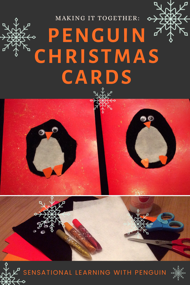 The Cutest Season's Greetings! Homemade Penguin Christmas Cards #DIYChristmas #finemotorfun #kidscraft For more, visit us at http://sensationallearningwithpenguin.com