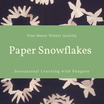Making paper snowflakes is a great activity for practising scissor skills and bilateral coordination. And they make lovely window decorations, too!