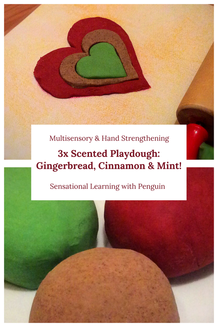 Scented Playdough Gingerbread Cinnamon Mint Multisensory Hand Strengthening - Sensational Learning with Penguin