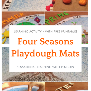 Four Seasons Playdough Mats - Learning Activity - Sensational Learning with Penguin. #4seasons #finemotor #playdough #playdoh