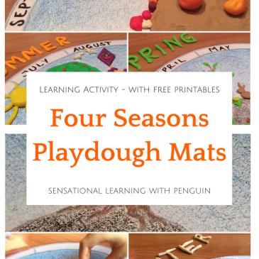 Four Seasons Playdough Mats - Learning Activity - Sensational Learning with Penguin. #4seasons #finemotor #playdough #playdoh