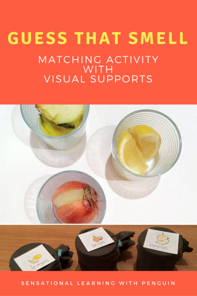 Guess that smell - Matching activity with visual supports - Sensational Learning with Penguin #sensory #learning #specialneeds #education #olfactory #senseofsmell
