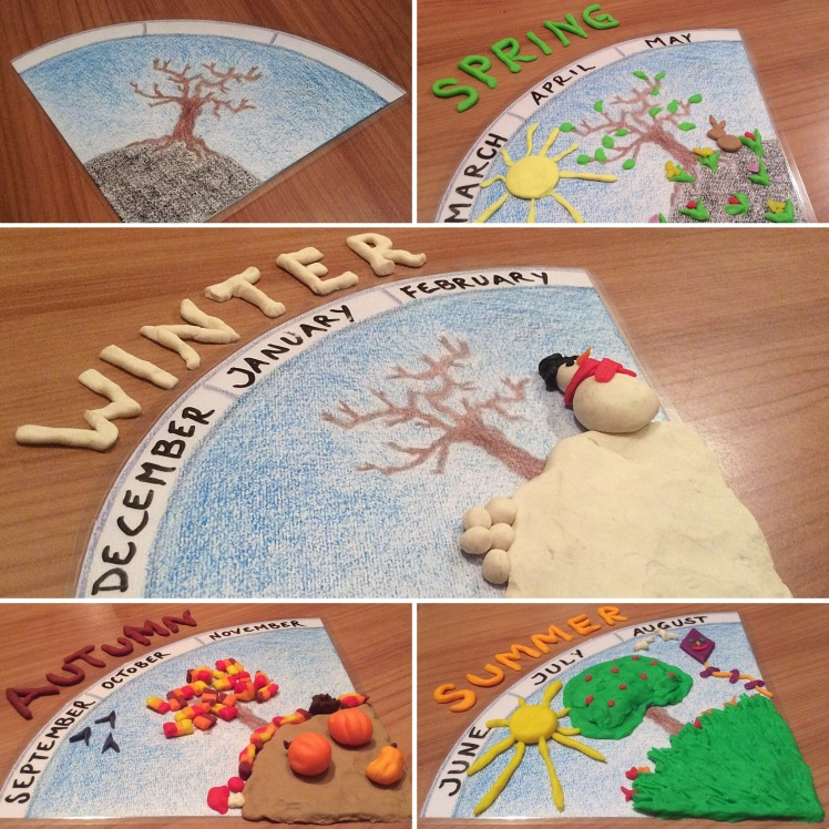Four Seasons Playdough Mats - Sensational Learning witn Penguin. This post includes a printable of the playdough mat. Make 4 copies if you wish to make a complete phenology wheel. #finemotorskills #tactileinput #4seasons #playdoh