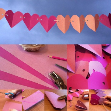 Paper heart garland for Valentines - Sensational Learning with Penguin