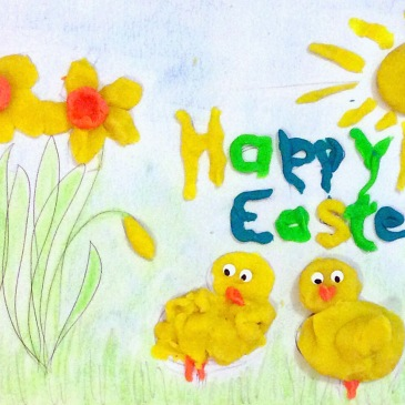 Happy Easter Playdough Mat - Sensational Learning with Penguin