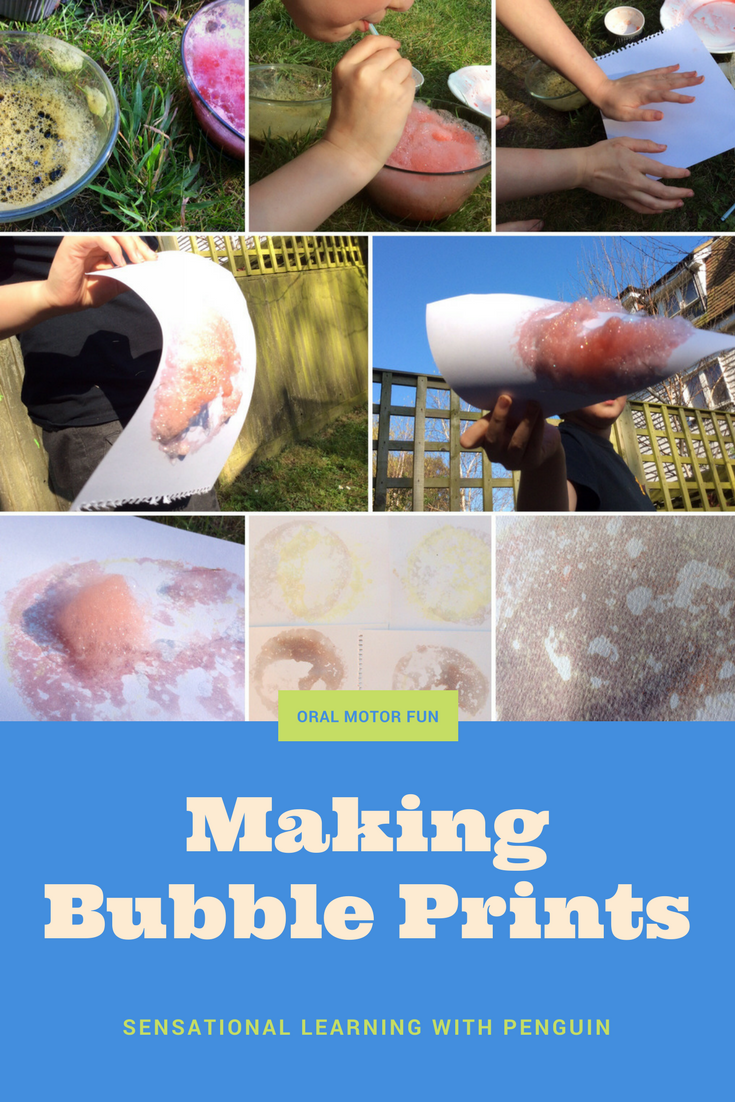 Making Bubble Prints! The action of blowing is a great oral motor exercise, popular with SLPs and OTs, so I thought it could be useful as well as great fun to give this a go! sensationallearningwithpenguin.com