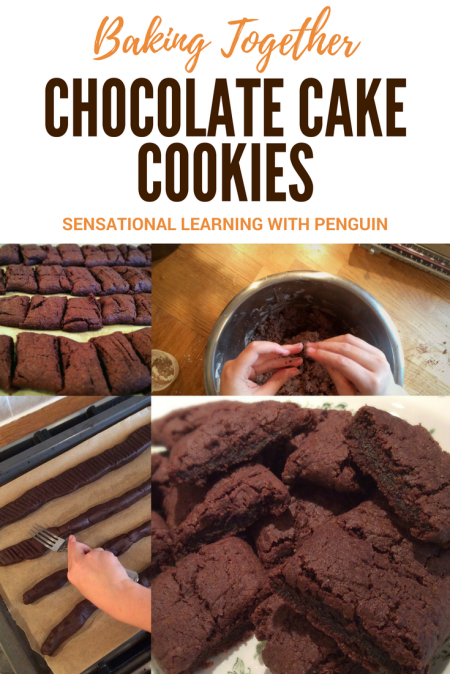 Baking Together: Chocolate Cake Cookies - Sensational Learning with Penguin. We're very much into baking together. I find it's a great way to practise things like counting and measuring, naming/recognising various ingredients and utensils, using bilateral coordination etc. And on top of that it's always a sensory rich experience!