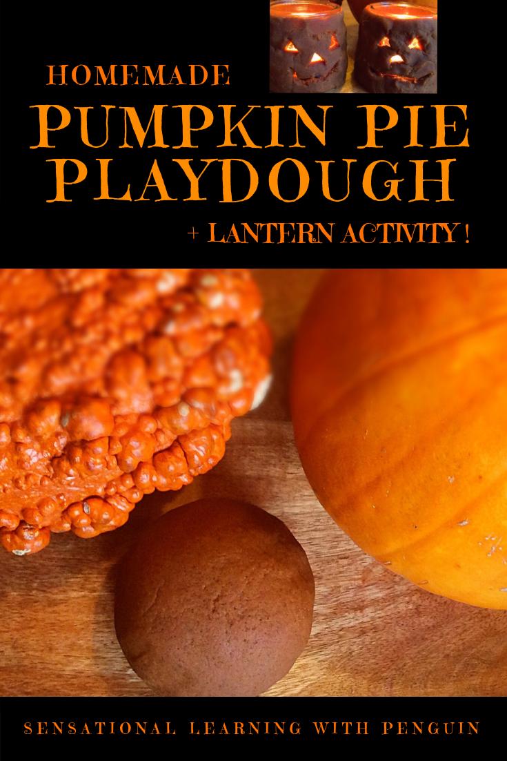 Homemade Pumpkin Pie Playdough + Lantern Activity! Multisensory Halloween Fun from sensationallearningwithpenguin.com #sensoryplay #DIYdecorations #Jack-O-Lantern