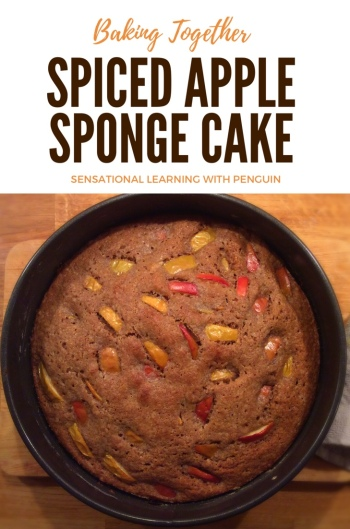 This Spiced Apple Sponge Cake is something we've enjoyed baking together several times lately. It's so nice for the colder parts of the year, in particular! #Baking is a great #multisensory #learning activity, which we do a lot of as part of our #homeschooling / #homeeducation For more, join us at http://sensationallearningwithpenguin.com