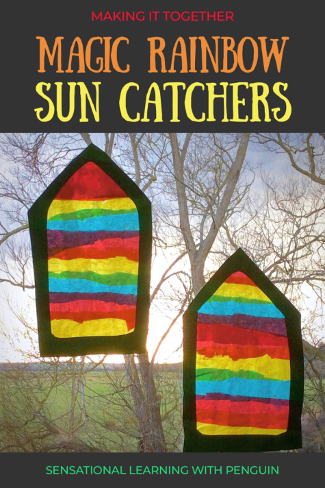 Magic Rainbow Suncatcher Craft - We made these Waldorf inspired Window Transparencies using Tissue Paper in 3 Primary Colours. A Project involving Fine Motor Skills, Hand-Eye Coordination, Scissor Skills, Colour Theory - and fun! http://sensationallearningwithpenguin.com