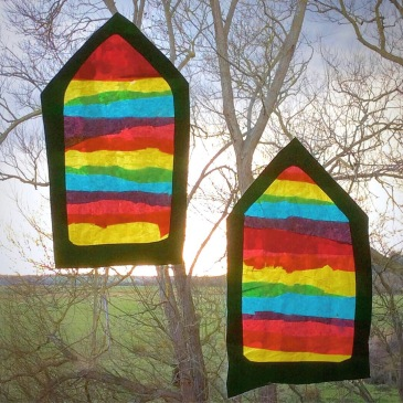 Magic Rainbow Suncatcher Craft - We made these Waldorf inspired Window Transparencies using Tissue Paper in 3 Primary Colours. A Project involving Fine Motor Skills, Hand-Eye Coordination, Scissor Skills, Colour Theory - and fun!