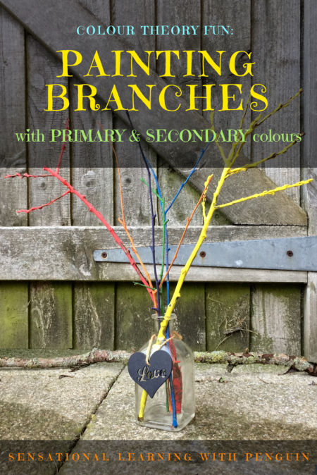 Colour Theory Fun: Painting Branches in Primary & Secondary Colours - sensationallearningwithpenguin.com
