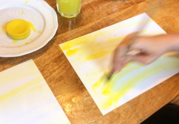 Painting watercolours wet-on-wet: A #sensory art experience! This can be a great way for us to calm down and refocus. It's also good fun! #KidsArt #Waldorfinspired