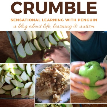 Baking Together: Apple Crumble #AppleCrumble is an Autumn favourite for me, and Penguin is happy to help me making it! #bakingwithkids #homebaked #lifeskills sensationallearningwithpenguin.com - a blog about Life, Learning & Autism