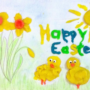 Happy Easter Playdough Mat Done - sensationallearningwithpenguin.com