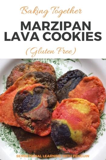 Baking Together: Colourful Marzipan Lava Cookies #homebaked #glutenfree #lifeskills sensationallearningwithpenguin.com